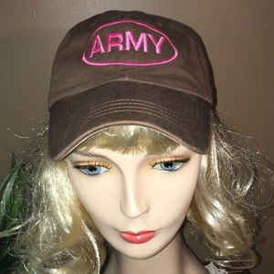 Brown Velcro pink army embroidered logo hat NEW